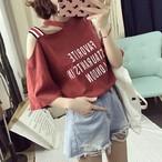 【tops】アルファベット斜め襟イレギュラーベアトップ2色Tシャツ