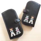 【受注製作】クロスステッチの手帳型iphoneケース(他犬種同士で多頭)