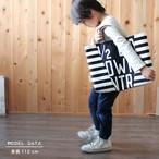 斜めカットのレッスンバッグ<letter & stripe>BLACK