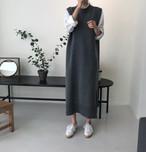 ニット ロング丈 ワンピース ベスト 2color 大人カジュアル ゆったり 韓国 オルチャン