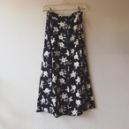 vintage flower button skirt