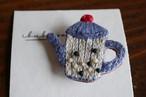 IBUKIya 刺繍ブローチ「ティーポット」ib-07