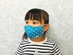 日本製 立体マスク 幼児~・トルコブルードット・コットンガーゼ100%