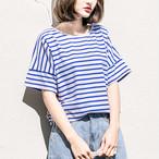 【tops】ストライプ柄ラウンドネックカジュアルトップスTシャツ