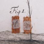 1950's 銅のフィルグリーにクリアのカービングガラス(1コ)