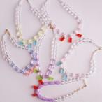 クリアビーズと熊さんのネックレス  〇透ける色の組み合わせが美しい