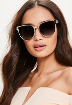 MISSGUIDED Gold Flat Metal Cat Eye Sunglasses 10SE007-17