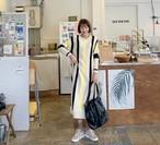 ストライプロングニットワンピース ニットワンピース ワンピース 韓国ファッション