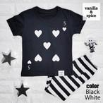 トランプ柄 【A】 プリント Tシャツ ブラック キッズ 子供服 vanilla&spice