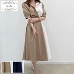 No.1037 韓国ワンピース きれいめワンピース 大人可愛いワンピース フレアワンピース 2color