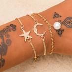 ALIUTOM 3ピース/セット 模造真珠のブレスレット&バングル 調整可能なスターとムーンクリスタルチェーンブレスレット 足アクアレット 女性 SKU-IPA-2250