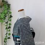 正絹紬 錫紵(しゃくじょ)の紗綾型の総柄小紋 袷