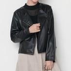 【綺麗め大人コーデに★ノーカラーライダースジャケット】エコレザーノーカラーライダースジャケット2カラー