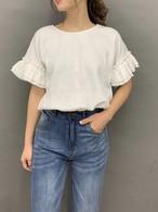 【送料無料】ワッフル地袖フリルTシャツ