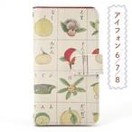 和柄iPhoneケース/手帳型「果物」