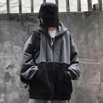 【韓国レディースファッション】バイカラー オーバーサイズ メンズライク ゆるだぼ フード付き ジップ パーカー ブラックコーデ 送料無料 5856
