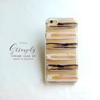 紺色のアートなボーダー●iPhone8/iPhoneX (iPhone各種)