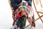 Tauko - Check Fur Poncho Blanket -