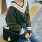 V Neck Long Sleeve Stripe Pullover 810
