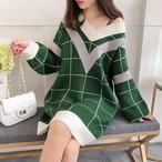 【tops】Vネック厚いチェック柄合わせやすい暖かいセーター 23897887