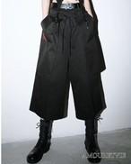 サルエルパンツ カジュアルパンツ ハーフパンツ シック モダン スタイリッシュ 黒 ブラック 8分丈 モード系 ヴィジュアル系 1377