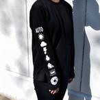 ホワイトバランス 袖プリント ロングスリーブTシャツ BLACK