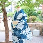 【浴衣  ゆかた すぐ着られる お仕立て上がり】綿麻  / 花浅葱色 菊