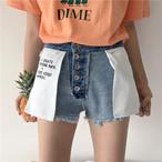 【新作10%off】 reversible printed denim shorts 2682