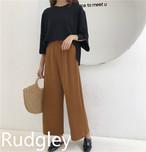 シンプル カジュアル ワイドパンツ 韓国ファッション
