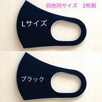 ピアレスガード【 Lサイズ  / ブラック】日本製 二枚組 洗える 抗ウイルス加工マスク