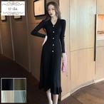 No.422 韓国ワンピース きれいめワンピース 大人可愛いワンピース ニットワンピース プリーツワンピース 4color