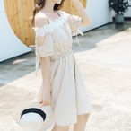 【dress】チェック柄切り替えしリボン付き清新ワンピース