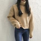 【tops】ハイネック防寒シンプルニットセーター
