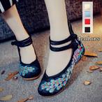 4colors 刺繍靴 チャイナ靴 中国風ボタン 羽柄 唐装漢服シューズ 34-41号 パンプス靴 4色選択 可愛い