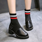【shoes】配色定番ローヒール切り替えブーツ22857494