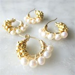 送料無料 14kgf*Freshwater pearl gold bi-color wraped earring/pierce パール