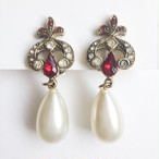 red rhinestone & pearl dangle earring[e-1155] ヴィンテージイヤリング