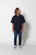 edit clothing Seersucker stretch slit neck tee(シアサッカーストレッチスリットネックT/ネイビー)