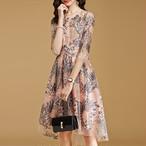 花柄 S〜2XL ドレス ワンピース イレギュラーヘム エレガント♢結婚式やお呼ばれ
