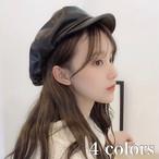 フェイク レザー キャスケット 帽 帽子 レディース 秋 冬 物 韓国 ファッション おしゃれ  カジュアル つば 付き AC-0016