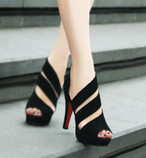 【shoes】サンダルレディースセクシー美脚ファッション透かし彫りハイヒール