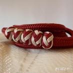 正絹 小田巻つきの丸組の帯締め 臙脂