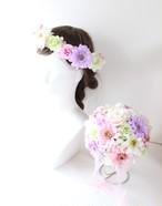 パステルカラーの花かんむり