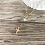 14kgf  一粒ラリマーrosario Hawaiian cross necklace