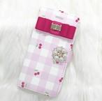 手帳型スマホケース 全機種対応 さくらんぼギンガムチェック柄 ピンク リボン付き