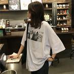 【tops】プリントファッション着痩せゆったりカジュアルTシャツ