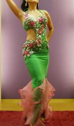 エジプト製 ベリーダンス衣装 コスチューム グリーン