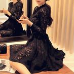 【dress】レースセクシー好感度アップ透かし彫りワンピース 24284688