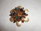 トパーズ色&虹色のブローチ(ビンテージ) vintage brooch (topaz& rainbow color)
