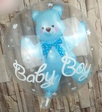 くまちゃんインバルーン【ブルー】誕生日  1歳 赤ちゃん ベビー 飾り 装飾 飾り付け プレゼント バースデー